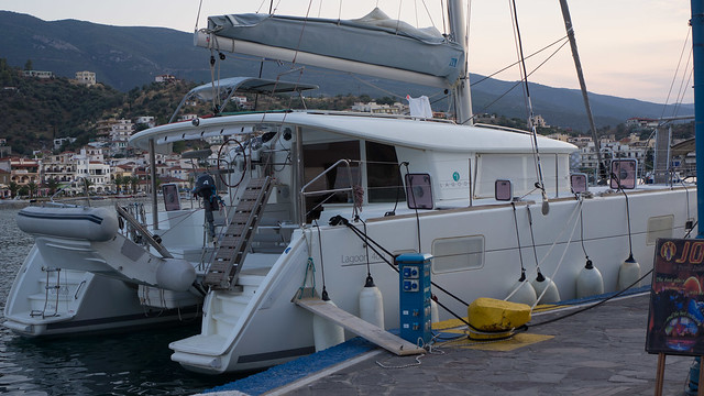 Our boat re-moored in Poros after the anchor broke free