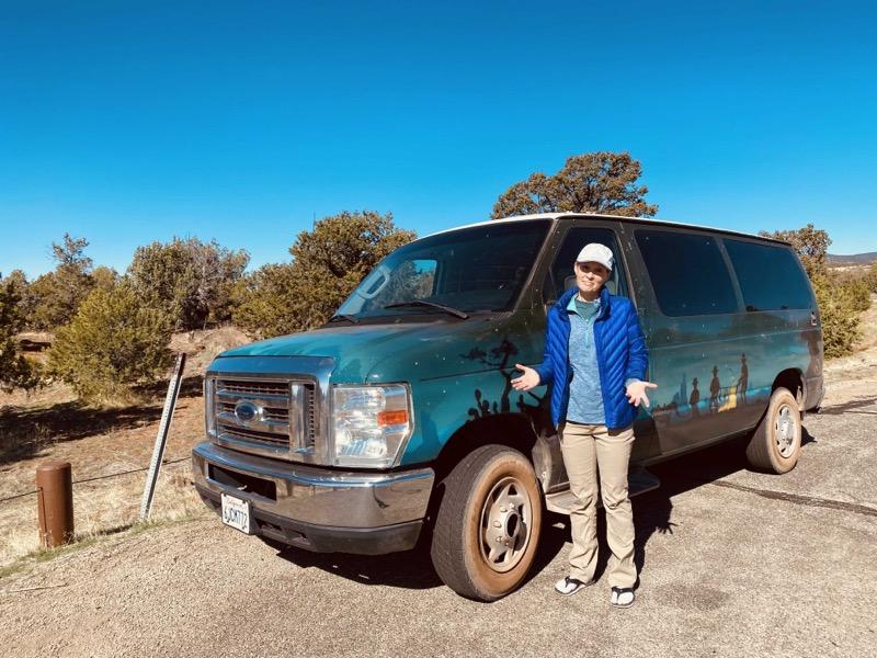 Julie and van at trailhead