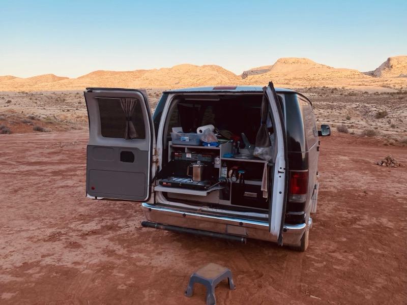 Van with rear door open